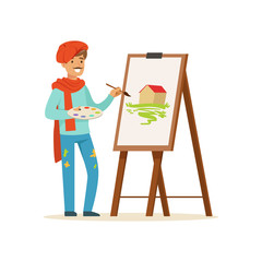 Male painter artist character with mustache wearing red beret painting picture of landscape standing near easel vector