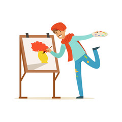 Male painter artist character with mustache wearing red beret painting vase of flowers standing near easel vector Illustration