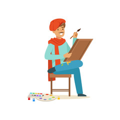 Smiling male painter artist character wearing red beret sittting on the chair and painting on canvas vector Illustration