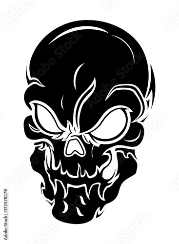 Skull angry. Scary vector silhouette stock