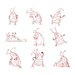 Collection of line art vector cartoon cockroaches