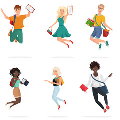 Happy group of multi ethic students friends jumping. Cartoon young people character Vector illustration.