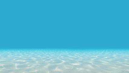 Under blue clear sea. Ocean floor. 3D render.