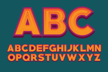 Font design alphabet letter vector image. English alphabet vector