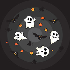 Hallowen pattern black bats, white ghost and orange pumpkin on black background