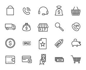 Premium set of e-commerce line icons.