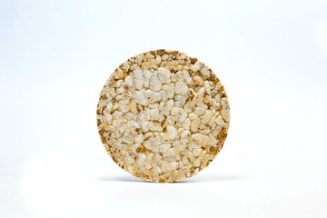 rice bread on a white background, made from rice flakes