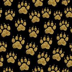 Vector golden glitter dog paw print seamless pattern animal foot stamp endless texture