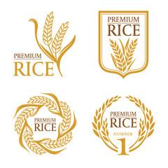 Orange brown paddy rice premium organic natural product banner logo vector design