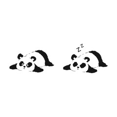 Panda resting on ground. Two vector illustrations of cute silhouette