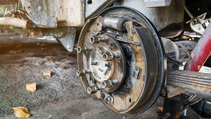 Old and rusty car's suspension, which removes the wheels for repair, replacement and change news parts -Automotive industry and garage concepts.