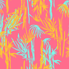 Bamboo seamless tropical leaves pattern on exotic trendy background. Tropical asian plant wallpaper, chinese or japanese nature textile print.