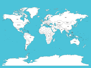 Political map of world. White lands and blue water. Vector illustration.