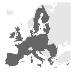 Fototapeta European Union territory grey silhouette. Map of EU. Vector illustration.