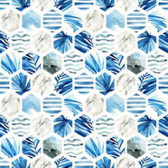Watercolor hexagon seamless pattern.