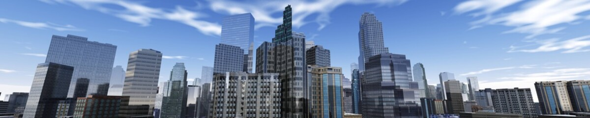 panorama of a modern city, skyscrapers view from below, 3d rendering