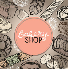 Fresh baked bread. Hand drawn doodle for bakery shop.