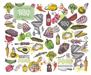 Big Hand drawn doodle barbecue set. BBQ food