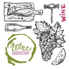 Hand drawn doodle wine collection. Grape and cheese