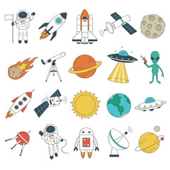 Set of space objects. Spaceship, rockets, planets, astronaut, alien, UFO etc