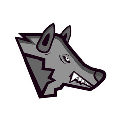 Vector head of enraged wolf isolated on the white background