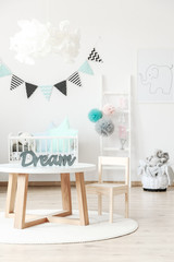 Wooden kid's table and chair