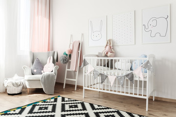 Scandi child's room with armchair