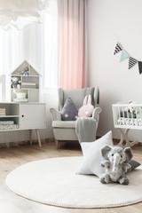 White carpet in baby's room