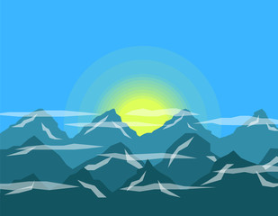 Sunrise in the Mountains Flat Design