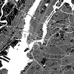 New York City, New York. Downtown vector map.
