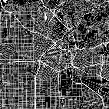 Los Angeles, California. Downtown vector map.