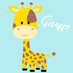 cute giraffe isolated vector illustration
