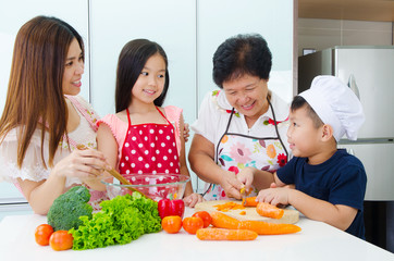 Kitchen lifestyle of asian family