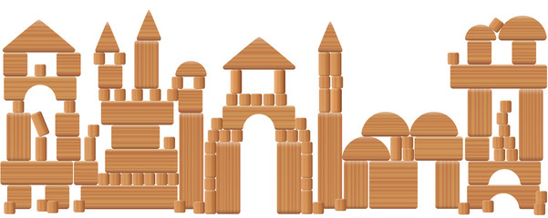 Toy city made of wooden blocks - imaginary skyline scenery with fairytale buildings build with many different natural wood elements - a typical childhood leisure game. Vector on white background.