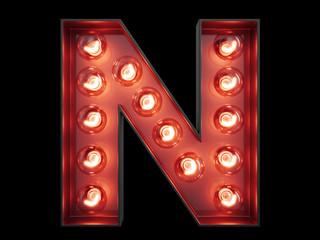 Light bulb alphabet character N font