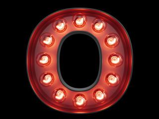 Light bulb alphabet character O font