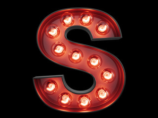 Light bulb alphabet character S font