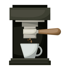coffee espresso machine front view in realistic colorful silhouette on white background vector illustration