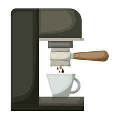 coffee espresso machine side view in realistic colorful silhouette on white background vector illustration