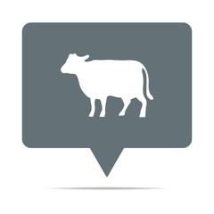 Graue Sprechblase mit Kuh