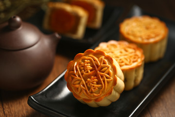 chinese mid autumn festival mooncake with egg yolk