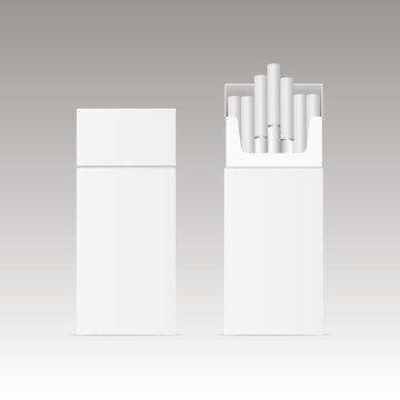 Blank package box of ciggarette isolated on white background. Vector