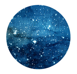 Hand drawn stylized grunge galaxy or night sky with stars. Watercolor space background. Cosmos illustration in circle. Brush and drops.