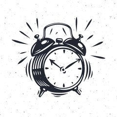 Hand drawn alarm clock isolated on white background.