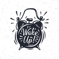 Hand drawn Alarm Clock with inscription Wake up!
