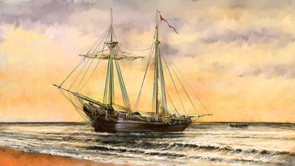 Oil paintings sea landscape. Ships, boat, fisherman.Digital art
