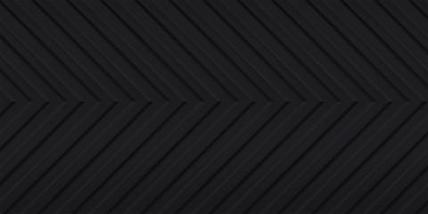 Volume realistic embossing texture, arrow, corner strips, black 3d geometric pattern, design vector dark background