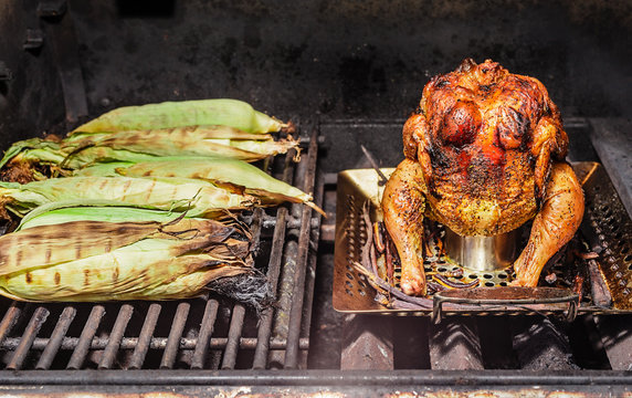 Roasted beeer can chicken and grilled corn