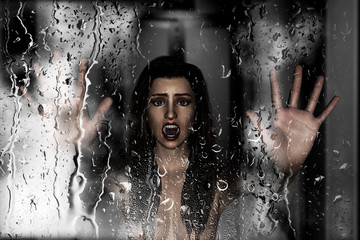 Steam room apocalypse,3d illustration of screaming woman put her hand against wet glass with condensation effect,Horror background,mixed media