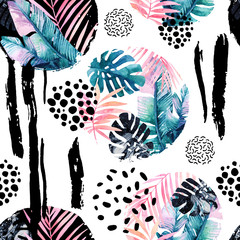 Abstract natural seamless pattern inspired by memphis style. Circles filled with tropical leaves, doodle, grunge texture, rough brush strokes. Hand painted watercolour illustration